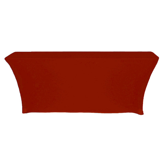 Spandex 6 Ft x 18 Inches Open Back Rectangular Table Cover Red back view