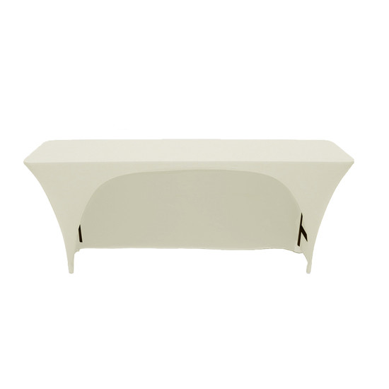 Spandex 8 Ft x 18 Inches Open Back Rectangular Table Cover Ivory