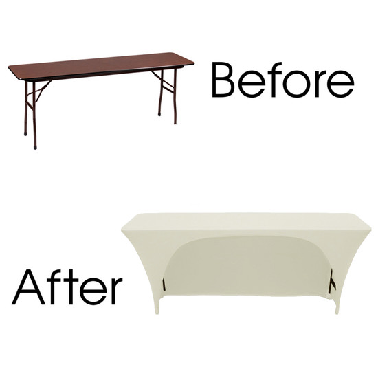 8 Ft x 18 Inches Open Back Rectangular Table Cover Ivory