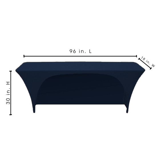 Spandex 8 Ft x 18 Inches Open Back Rectangular Table Cover Navy Blue for Events, Parties, Weddings