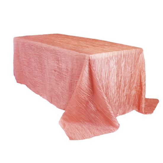 90 x 156 Inch Rectangular Crinkle Taffeta Tablecloth Coral