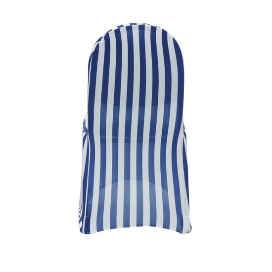 white and royal blue striped chair covers spandex
