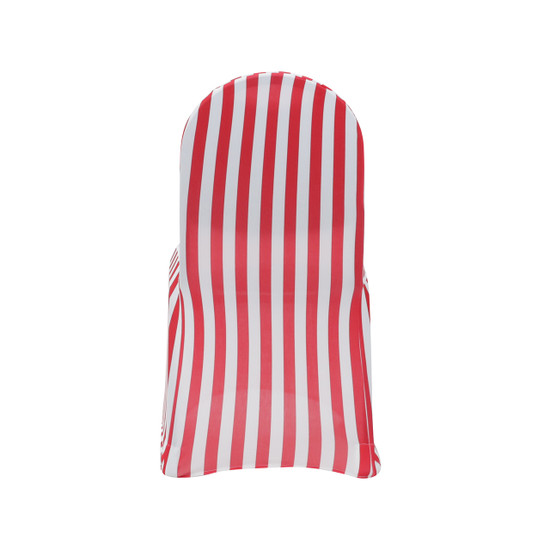 red and white spandex striped chair covers