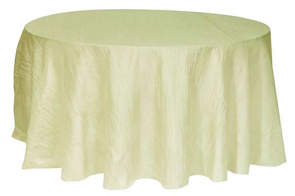 120 Inch Round Crinkle Taffeta Tablecloth Champagne