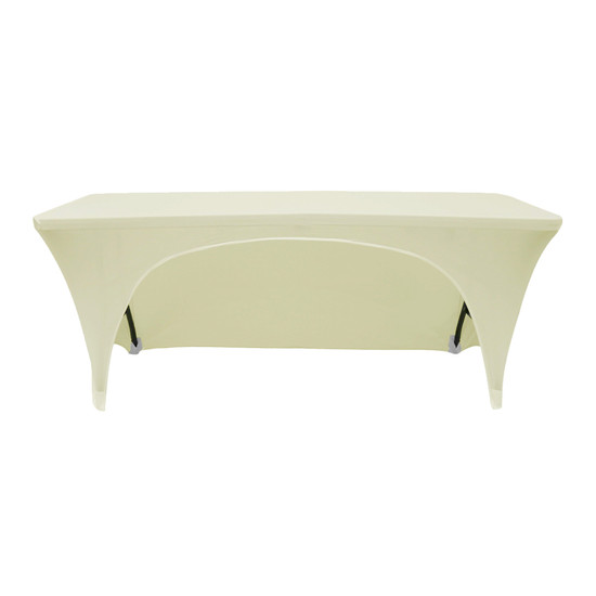 Stretch Spandex 8 Ft Open Back Rectangular Table Covers Ivory