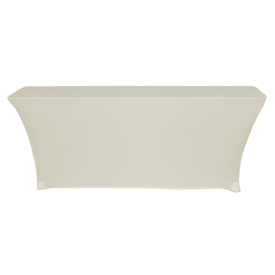 Stretch Spandex 8 Ft Open Back Rectangular Table Covers Ivory Side