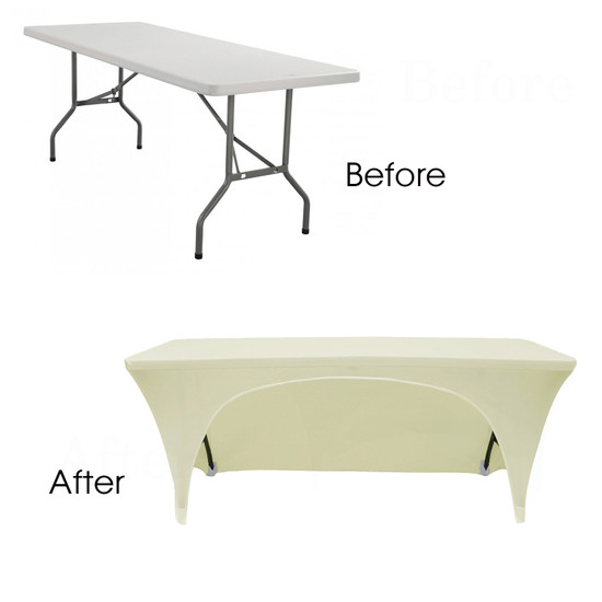 ivory open back spandex table covers