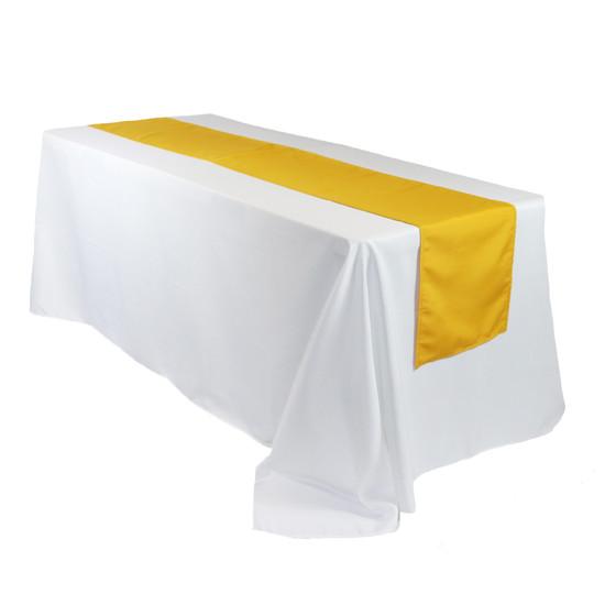 14 x 108 inch Polyester Table Runner Gold on rectangular table