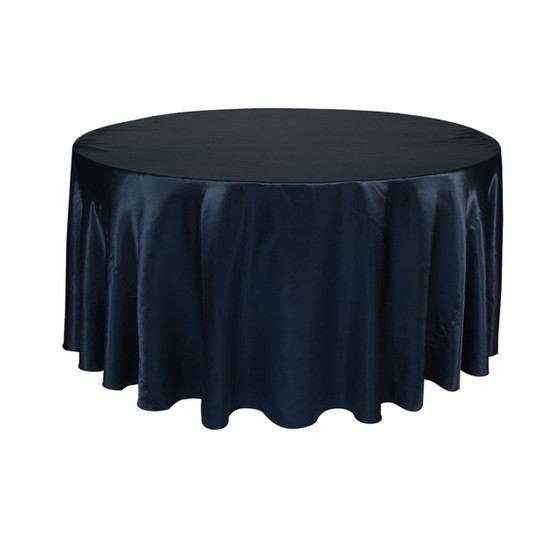 120 Inch Round Satin Tablecloth Navy Blue