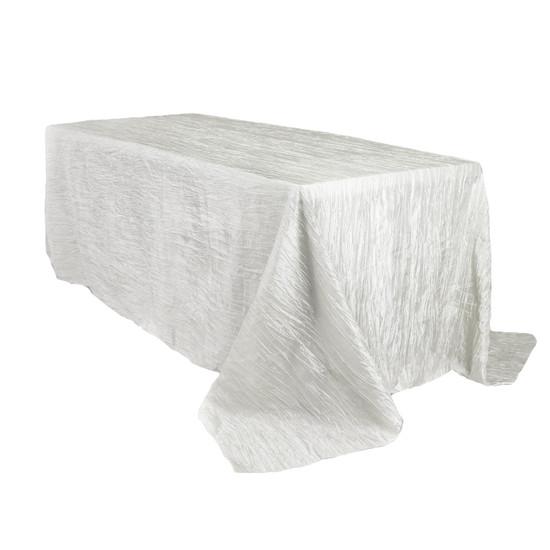 90 x 156 Inch Rectangular Crinkle Taffeta Tablecloth White