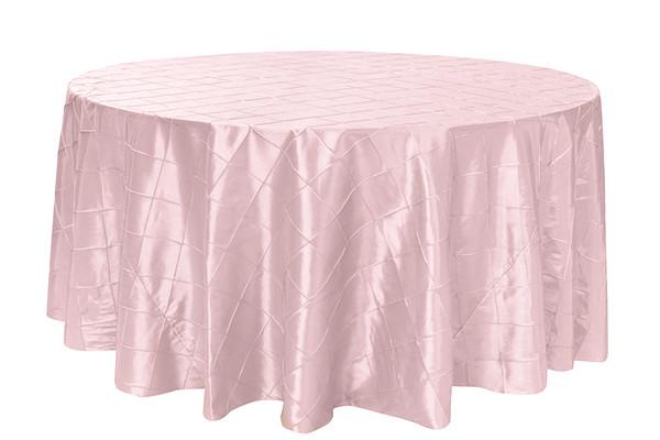 120 Inch Pintuck Taffeta Round Tablecloth Blush