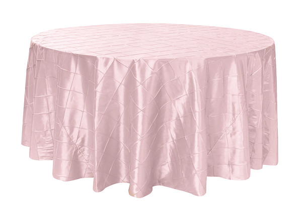132 inch Pintuck Taffeta Round Tablecloth Blush