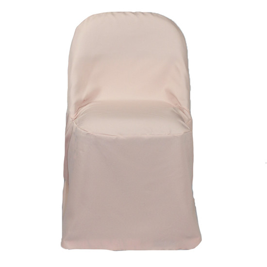 Polyester Folding Chair Covers Blush for weddings