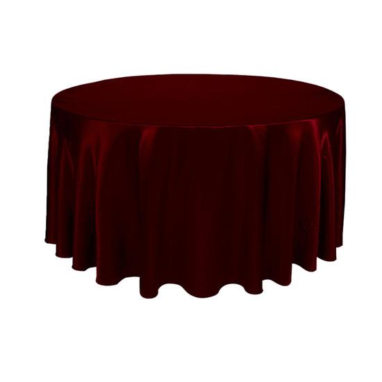 120 inch Round Satin Tablecloth Burgundy