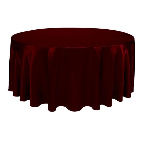 132 Inch Round Satin Tablecloth Burgundy