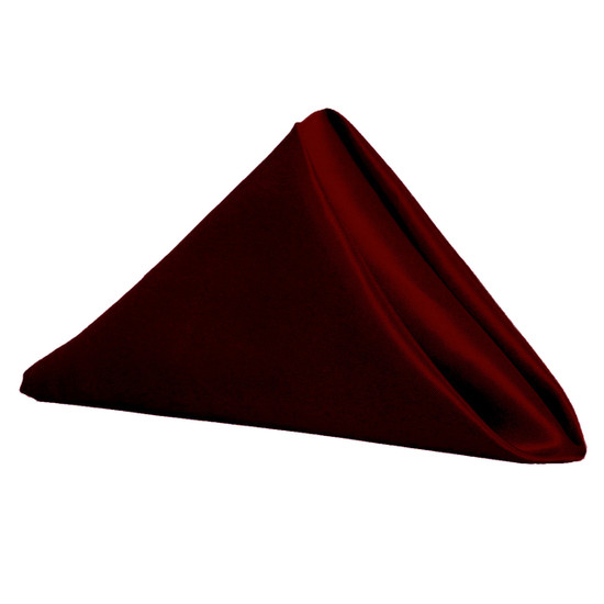 20 inch Satin Cloth Napkins Burgundy (Pack of 10)