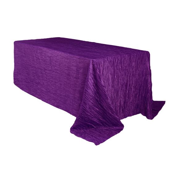 90 x 156 Inch Rectangular Crinkle Taffeta Tablecloth Purple