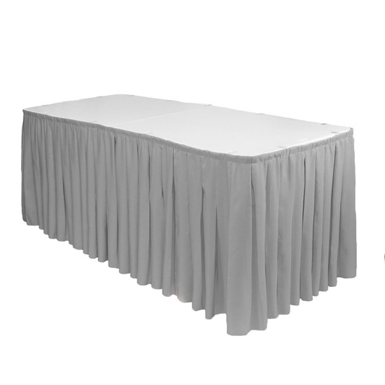 17 ft x 29 inch Polyester Pleated Table Skirt Gray