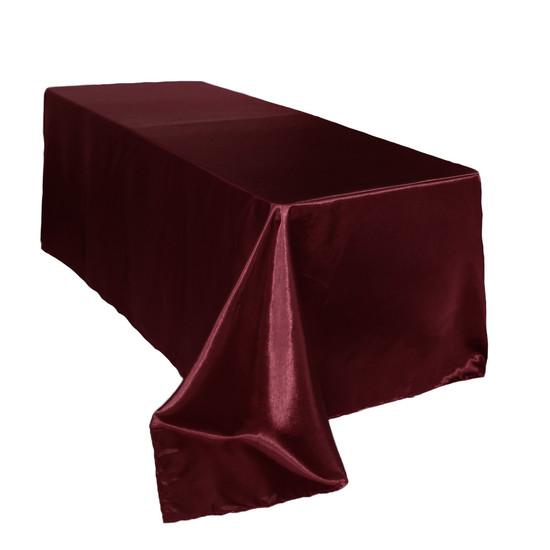 90 x 156 inch Rectangular Satin Tablecloth Burgundy