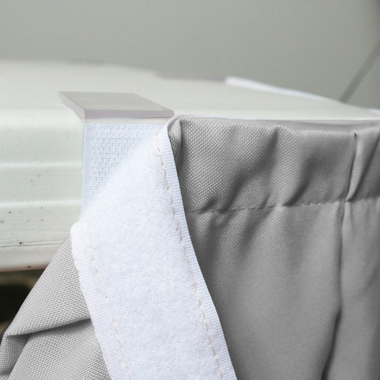 21 ft x 29 inch Polyester Pleated Table Skirts Gray velcro