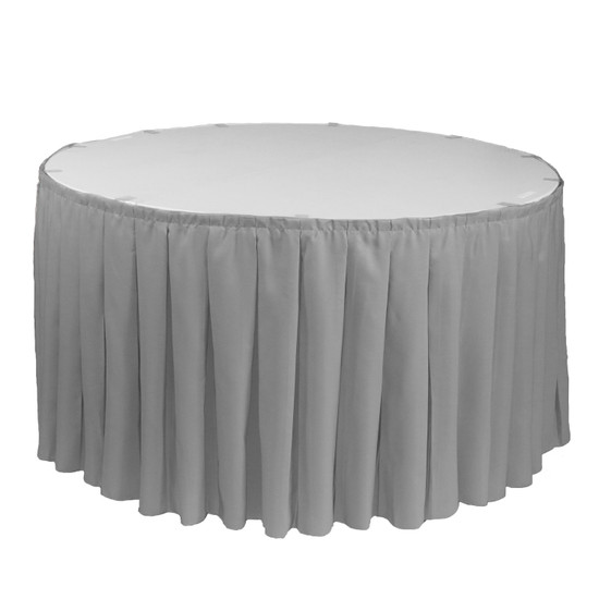 21 ft x 29 inch Polyester Pleated Table Skirts Gray for round tables