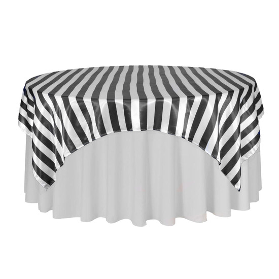 72 Inch Square Satin Table Overlay Black/White Striped