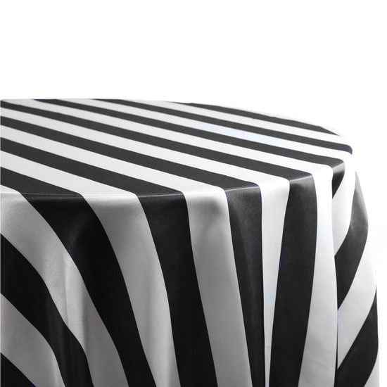 90 Inch Square Satin Table Overlay Black/White Striped