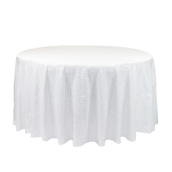120 Inch Round Glitz Sequin Tablecloth White