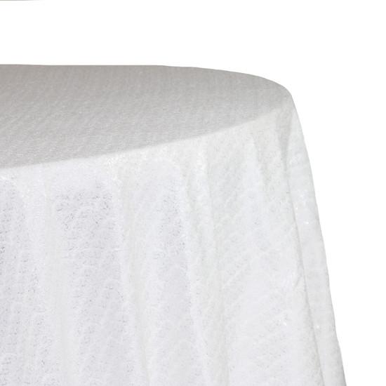 Round Glitz Sequin Tablecloth White