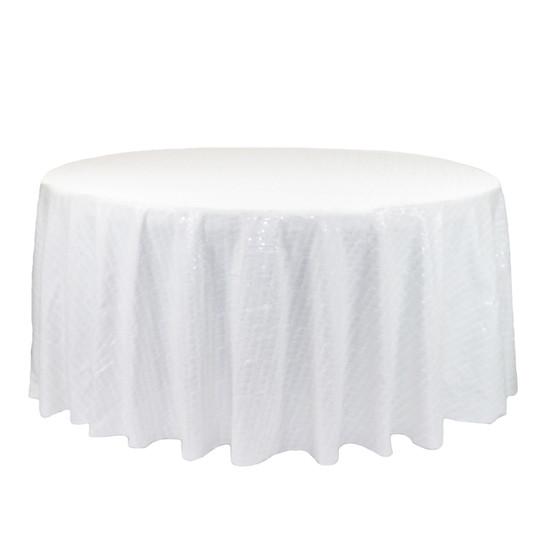 132 inch Round Glitz Sequin Tablecloth White