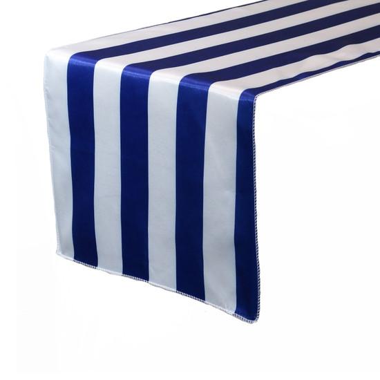 14 x 108 Inch Satin Table Runner Royal Blue/White Striped