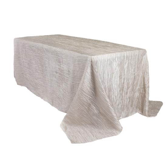 90 x 156 Inch Rectangular Crinkle Taffeta Tablecloth Ivory