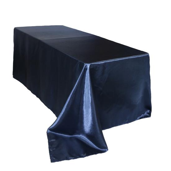 90 x 156 inch Rectangular Satin Tablecloth Navy Blue