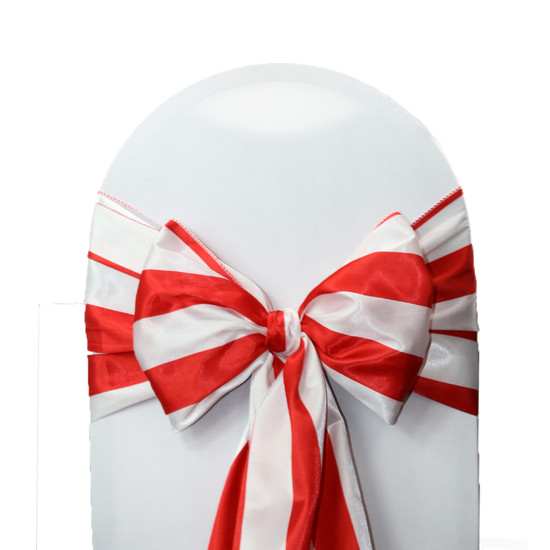 10 Pack Satin Sashes Red/White Striped