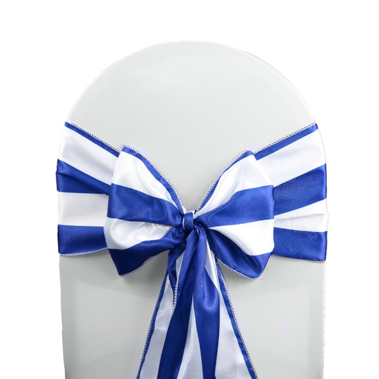Satin Sashes Royal Blue/White Striped (Pack of 10)