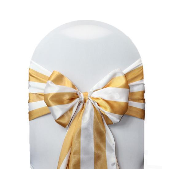 Satin Sashes Gold/White Striped (Pack of 10)