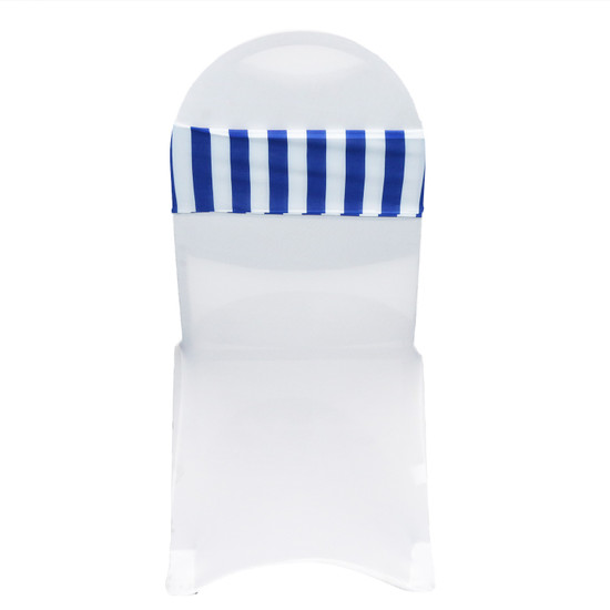 10 Pack Stretch Spandex Striped Chair Bands Royal Blue/White