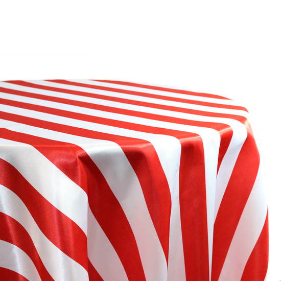 132 Inch Round Satin Tablecloth Red/White Striped For Weddings