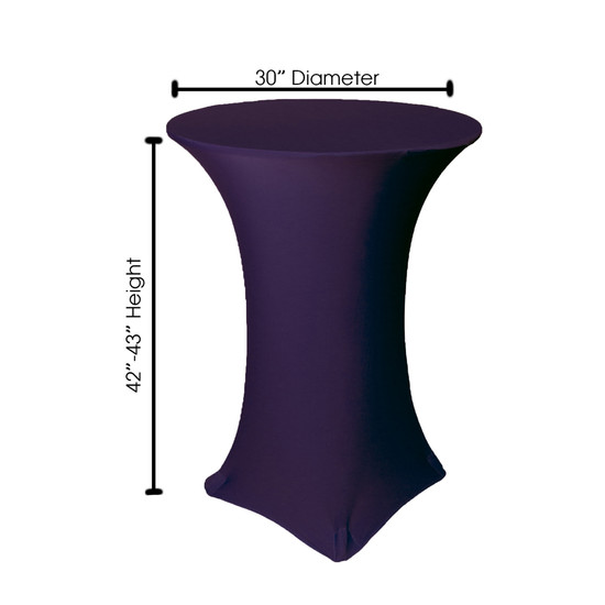 30 Inch Highboy Cocktail Round Stretch Spandex Table Cover Eggplant Dimensions