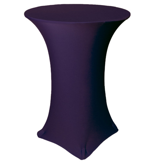 30 Inch Highboy Cocktail Round Stretch Spandex Table Cover Eggplant