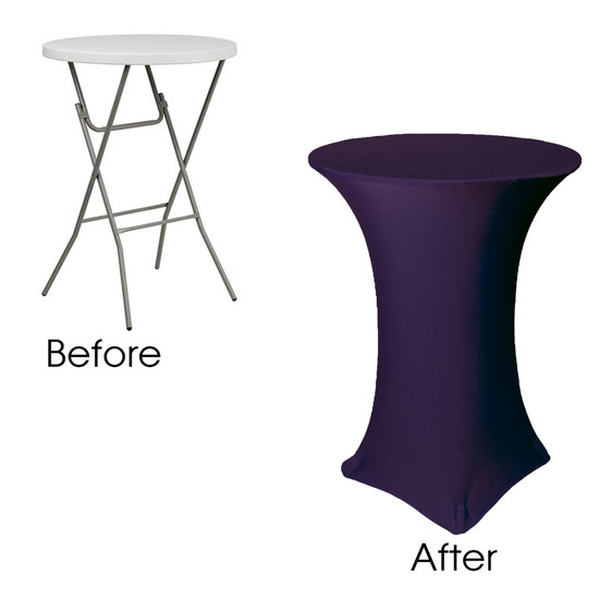 30 Inch Highboy Cocktail Round Stretch Spandex Table Cover Eggplant Folding Table Before After
