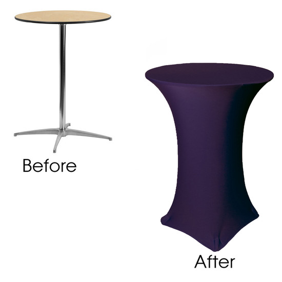 30 Inch Highboy Cocktail Round Stretch Spandex Table Cover Eggplant Before After