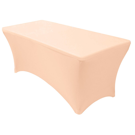 Stretch Spandex 6 ft Rectangular Table Cover Peach