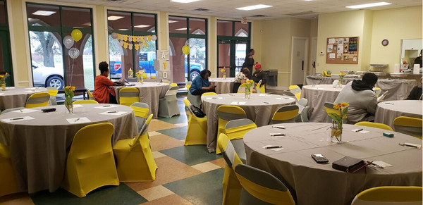 yellow spandex bands, chair sashes