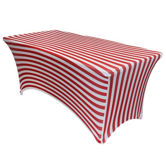 Stretch Spandex 6 ft Rectangular Table Cover Red/White Striped