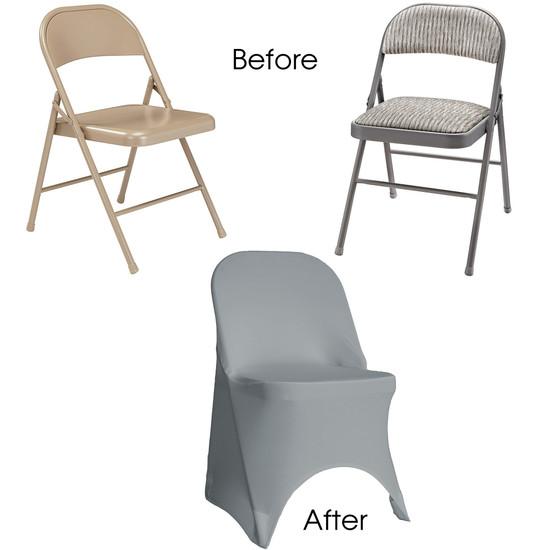 Stretch Spandex Folding Chair Cover Gray