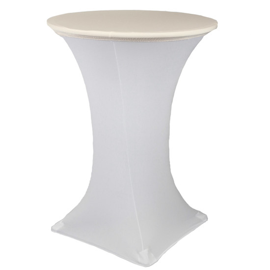 """30"""" Stretch Spandex Table Topper/Cap Ivory"""