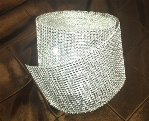 Silver Rhinestone Diamond Ribbon Mesh Roll