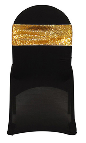 10 Pack Stretch Spandex Glitz Sequin Bands Gold on Black Chair Cover