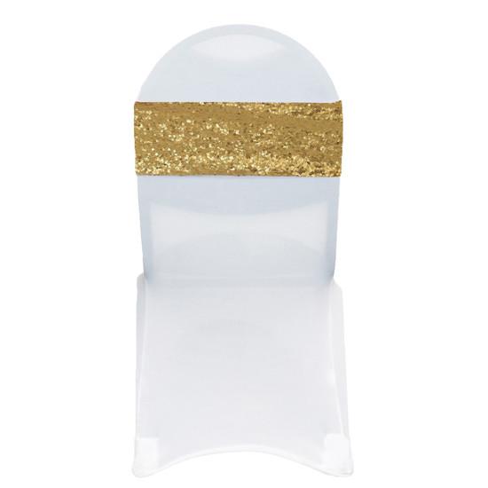 10 Pack Stretch Spandex Glitz Sequin Bands Gold